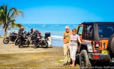 jeep and motorcycles on the coast of ecuador