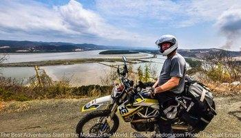 motorcycle above the bahia de caraquez and isla de corazon in ecuador