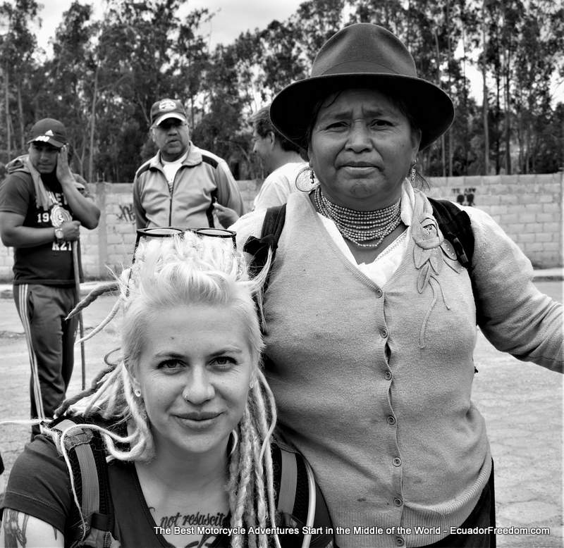 Egle in Otavalo guiding tour with local Ecaudorian