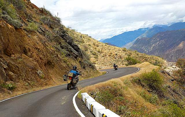 two motorcycles on curvy road near leymebamba peru