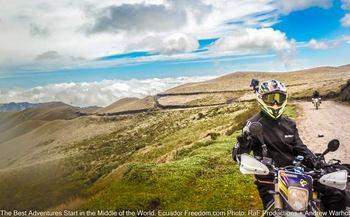 riding a husqvarna enduro motorcycle at high elevations in el angel park on the border with colombia in ecuador