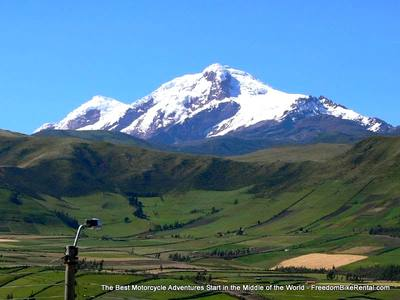 cayambe volcano seen on motorcycle adventure tour in ecuador