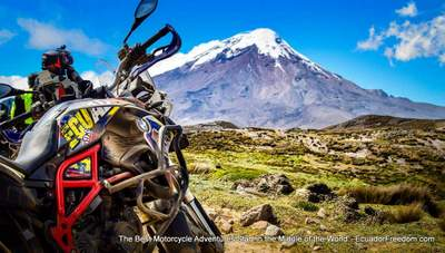BMW F800GS with Chimborazo Volcano in background in Ecuador