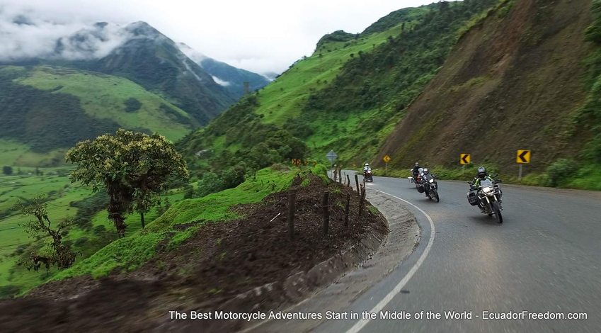 Riding down into the cloudforst on an Ecuador Motorcycle Adventure TOur