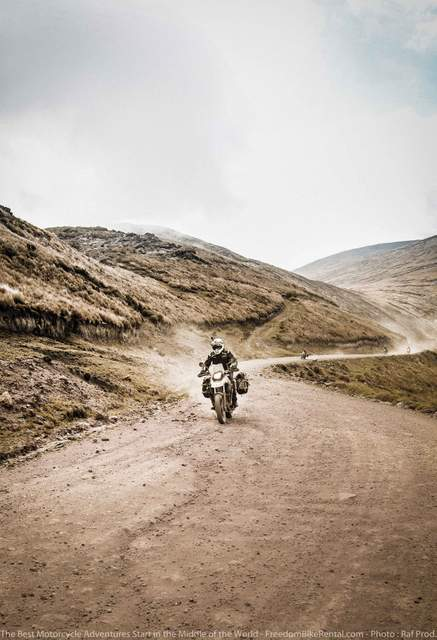 BMW G650GS in high elevation paramo on dirt bike motorcycle adventure tour in Ecuador