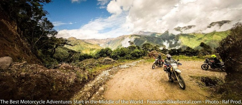 climbing up switchbacks offroad ecuador motorcycle 4x4 tour