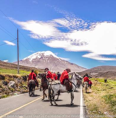ecuadorian cowboys on road near kunuyacu hot springs