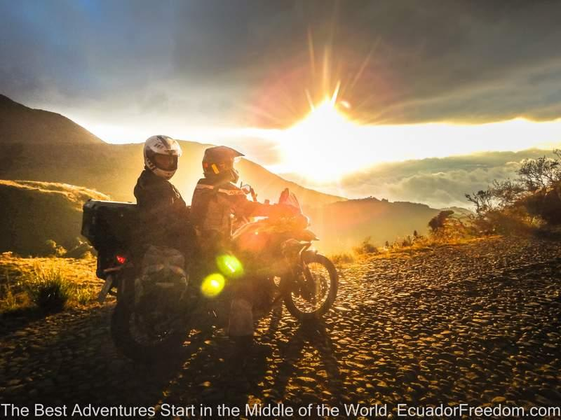 sunlight and two adventure motorcyclists in ecuador