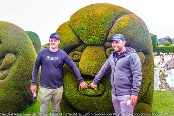 two motorcyclists visiting the topiary cemetary in tulcan ecuador